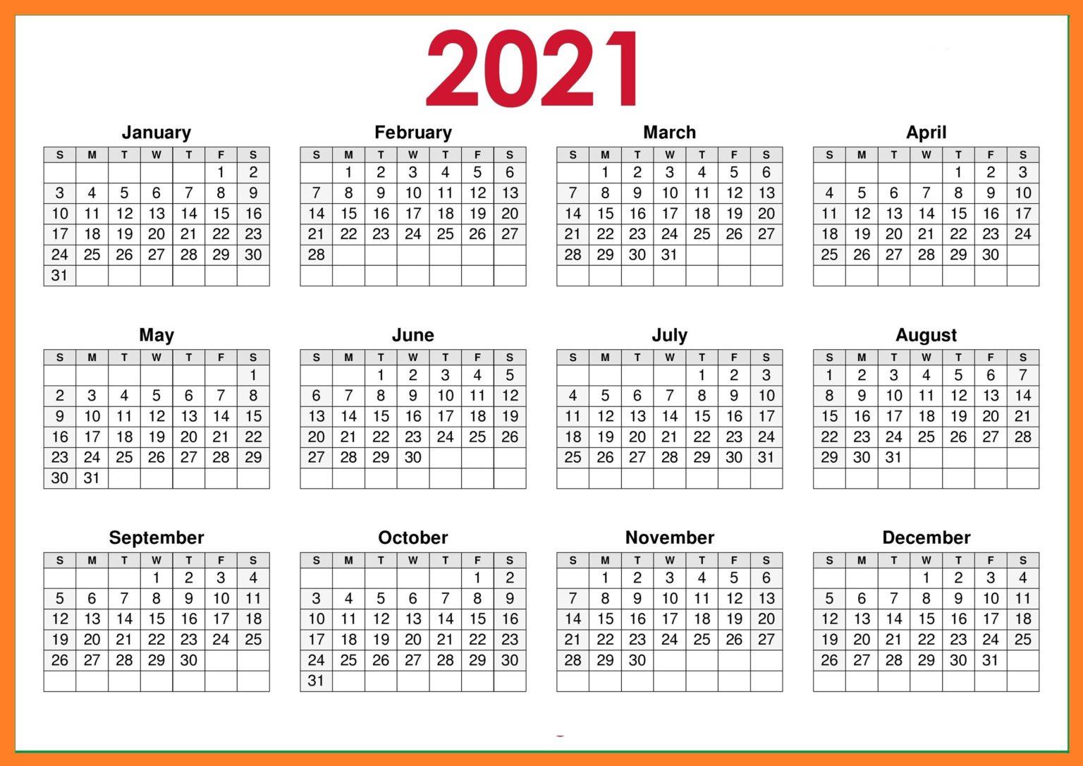 2021 Blank Landscape Calendar