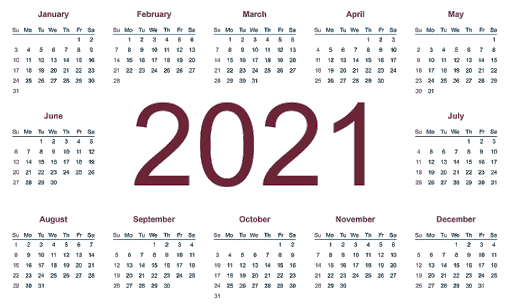 2021 Calendar Yearly Editable Template