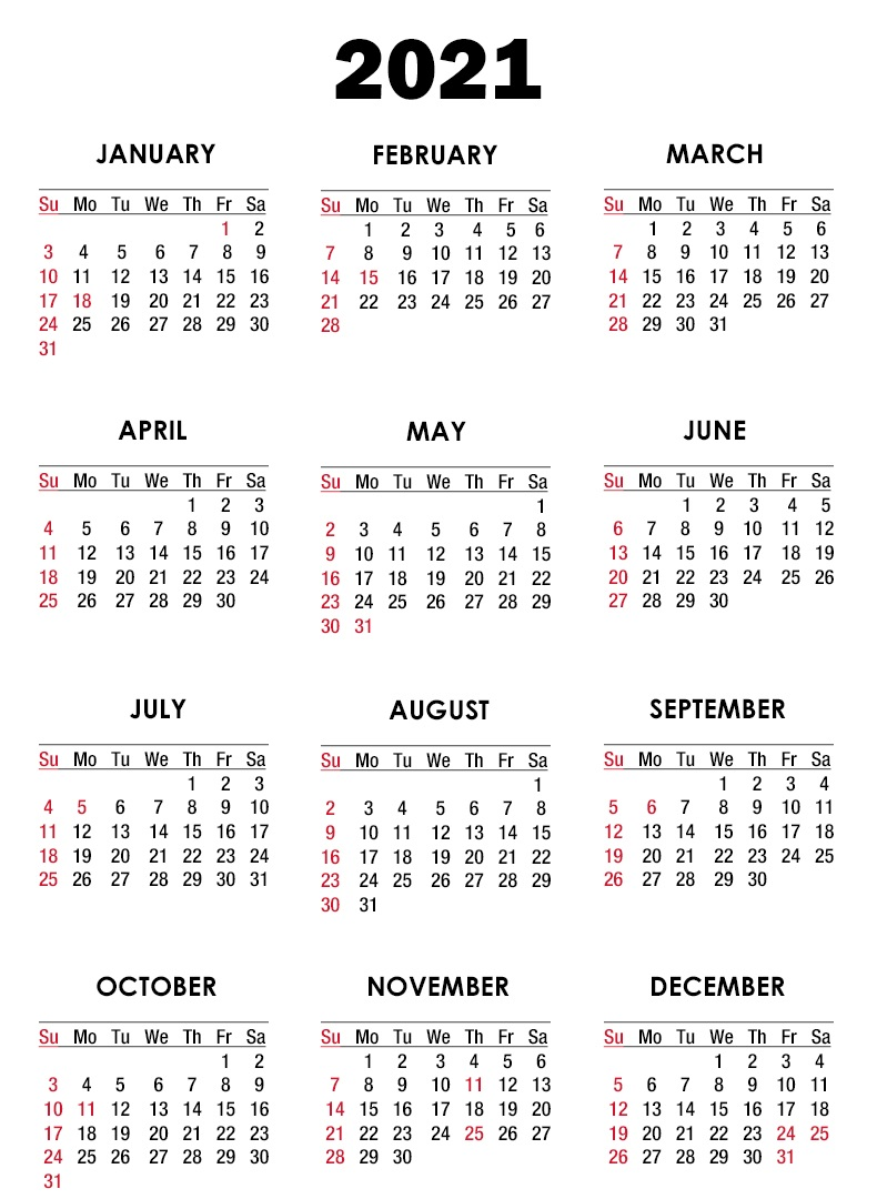 2021 Calendar Yearly Template