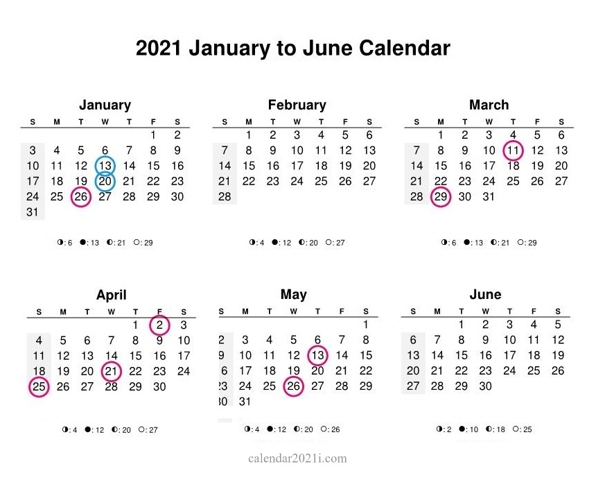 2021 January June Printable Calendar