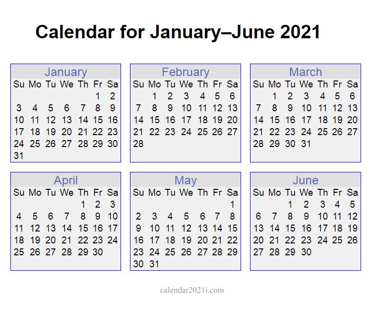 2021 January to June Calendar