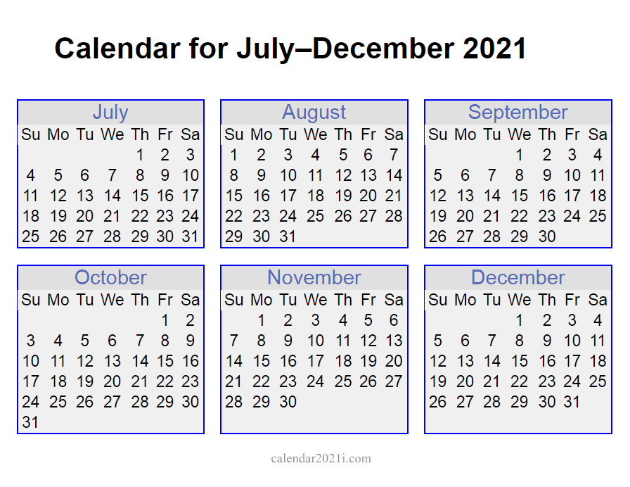 2021 July to December Calendar