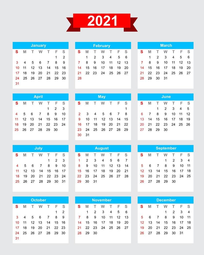 2021 One Page HD Calendar