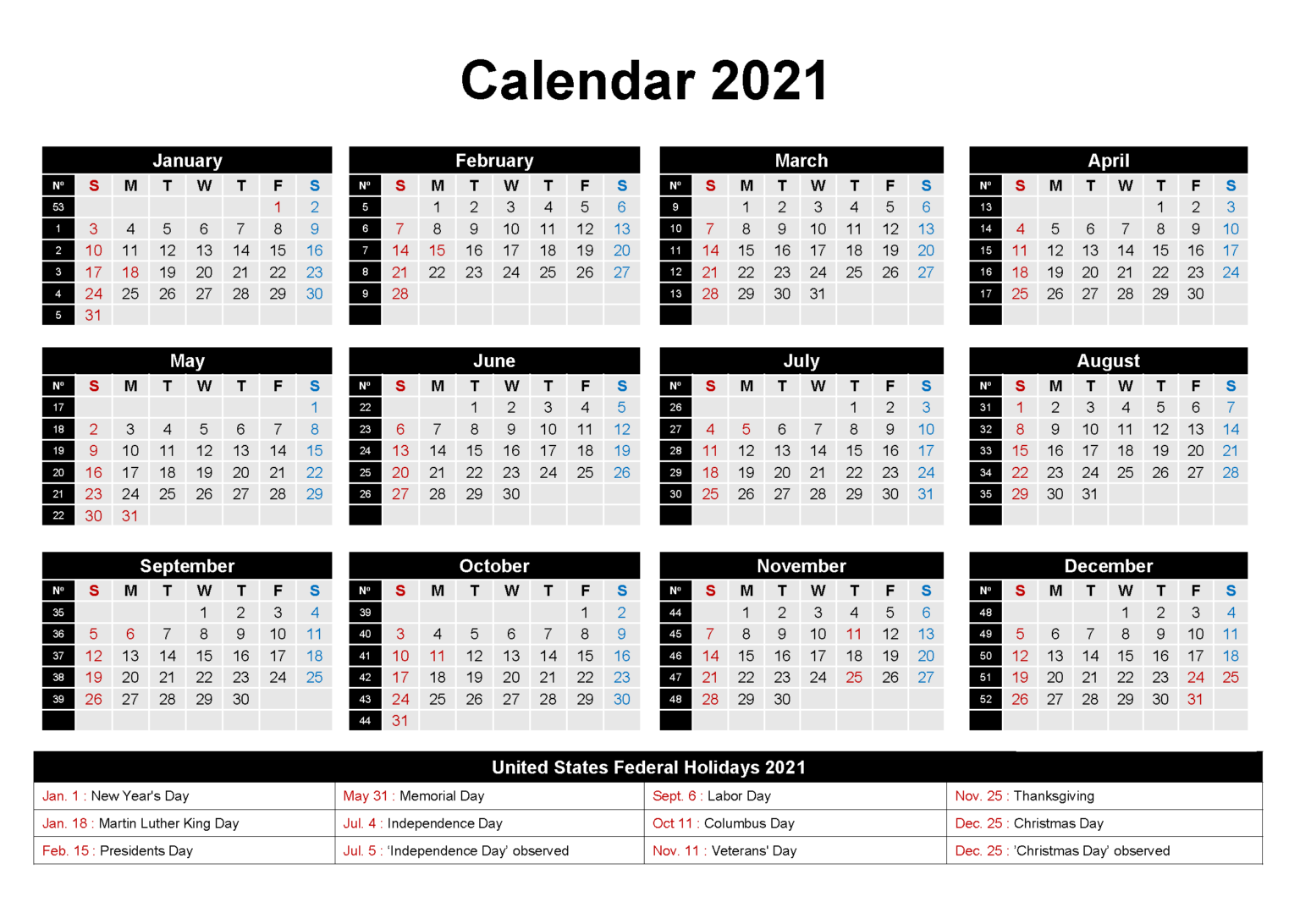 2021 One Page Holidays Calendar