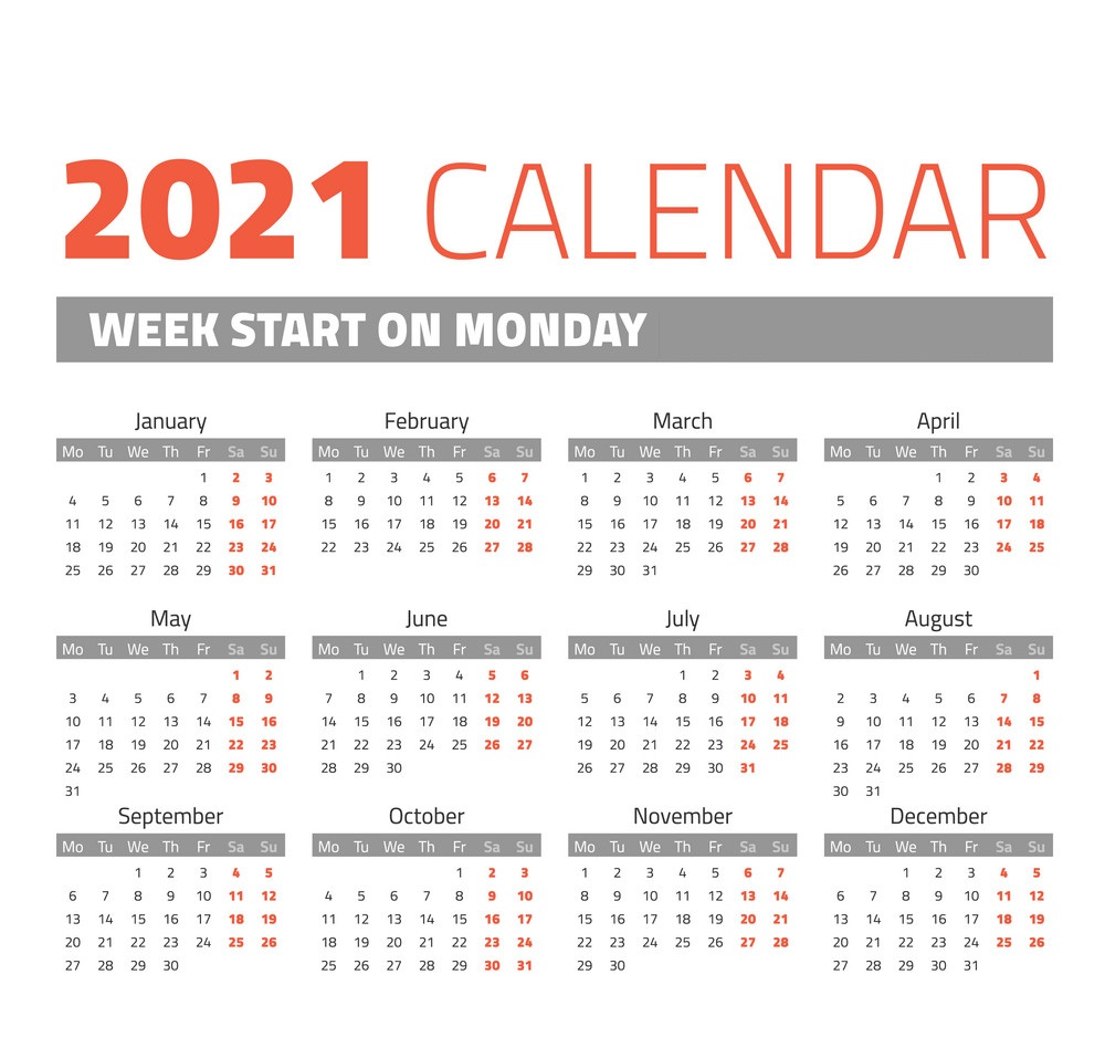 2021 One Page Monday Start Calendar