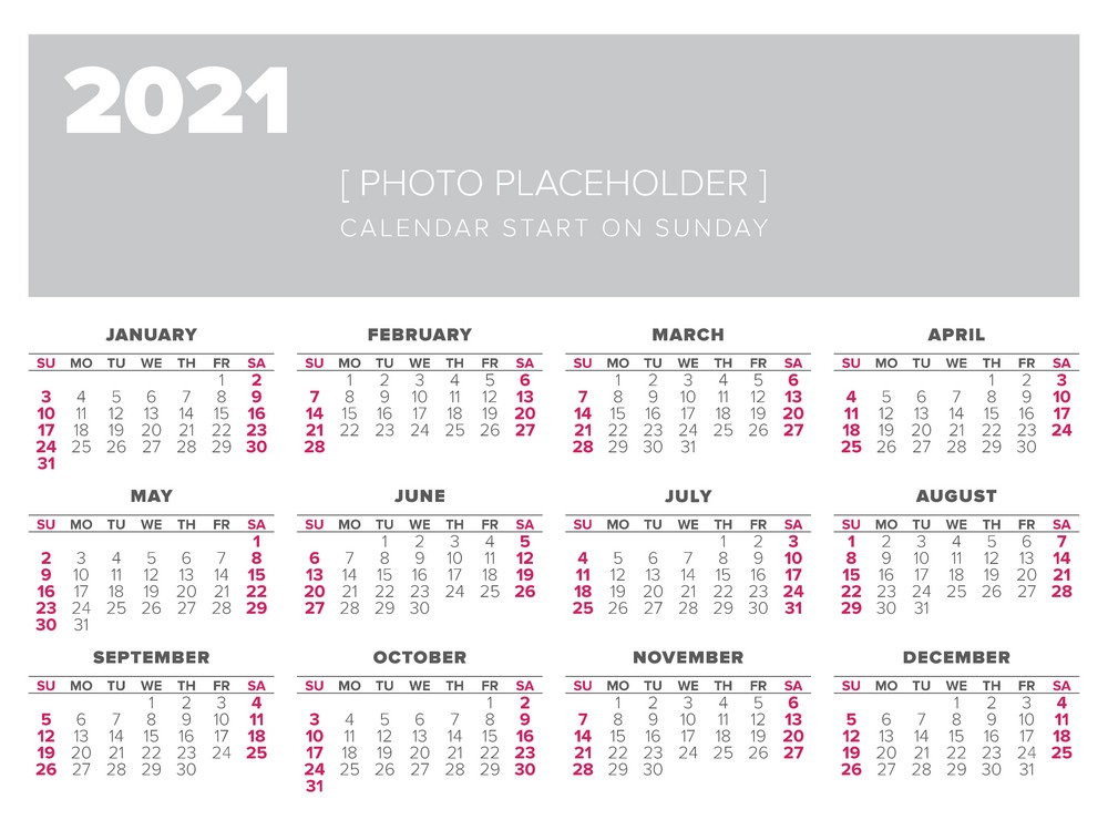 2021 One Page Photo Calendar