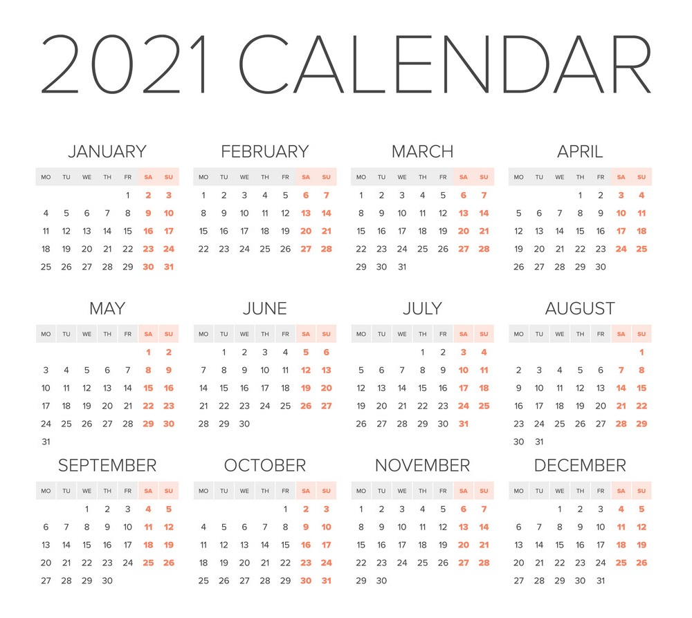 2021 One Page Yearly Calendar