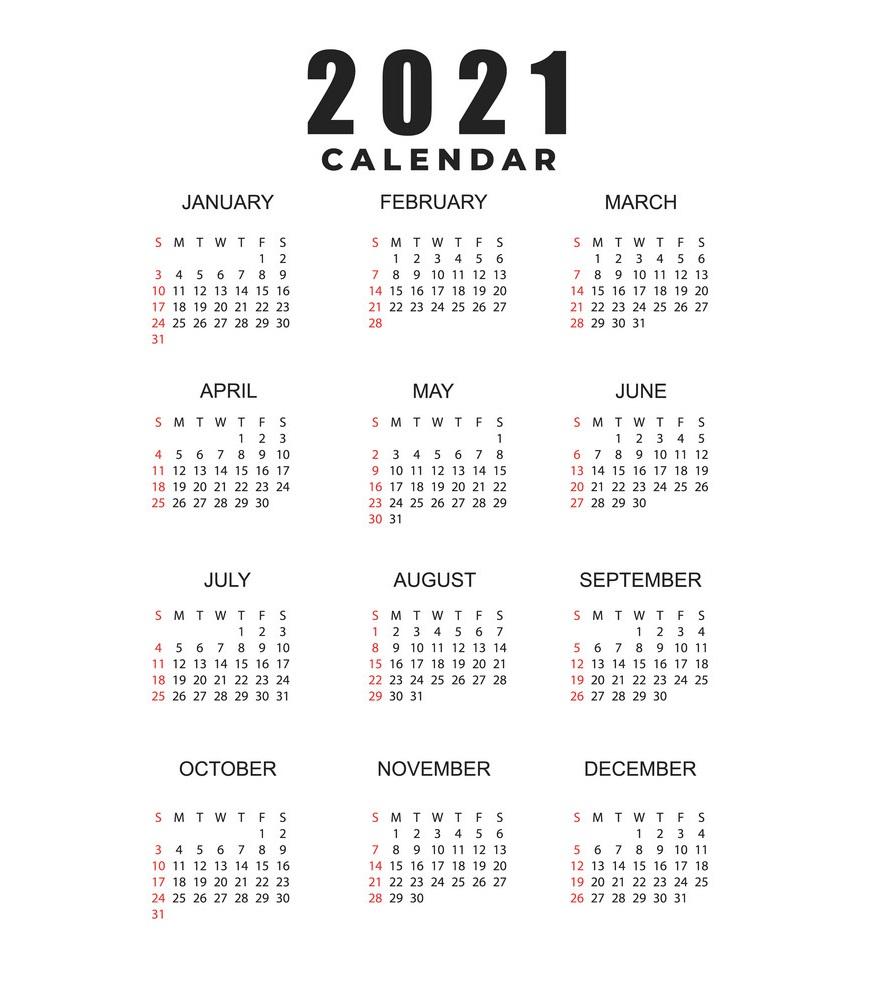2021 Simple Calendar Printable