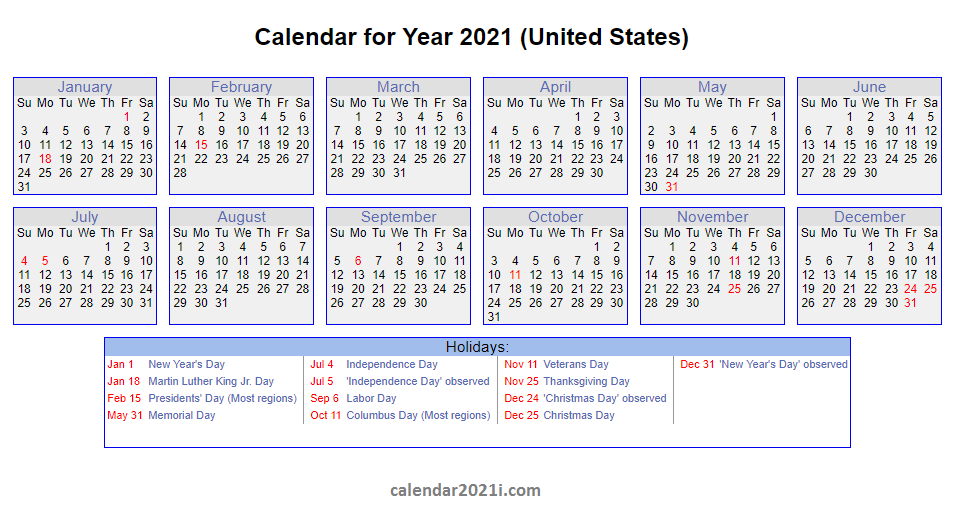 2021 US Calendar with Holidays