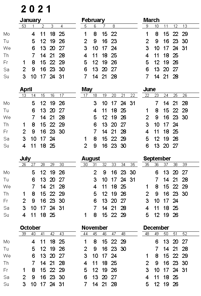 2021 Yearly Calen2021 Yearly Calendar with Week Numbersdar with Week Numbers