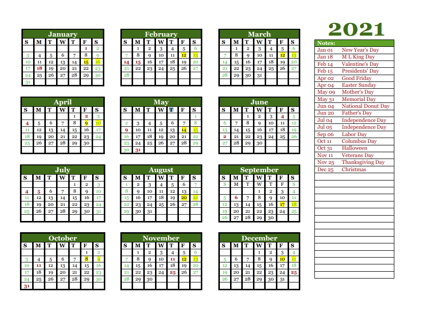 2021 Yearly Holidays Calendar