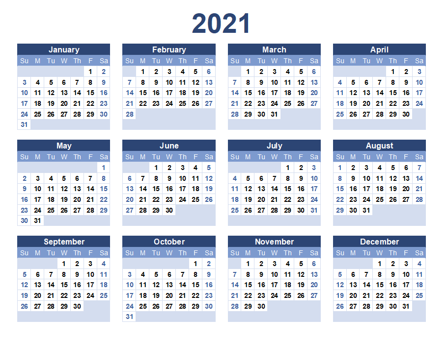 2021 Yearly Landscape Calendar