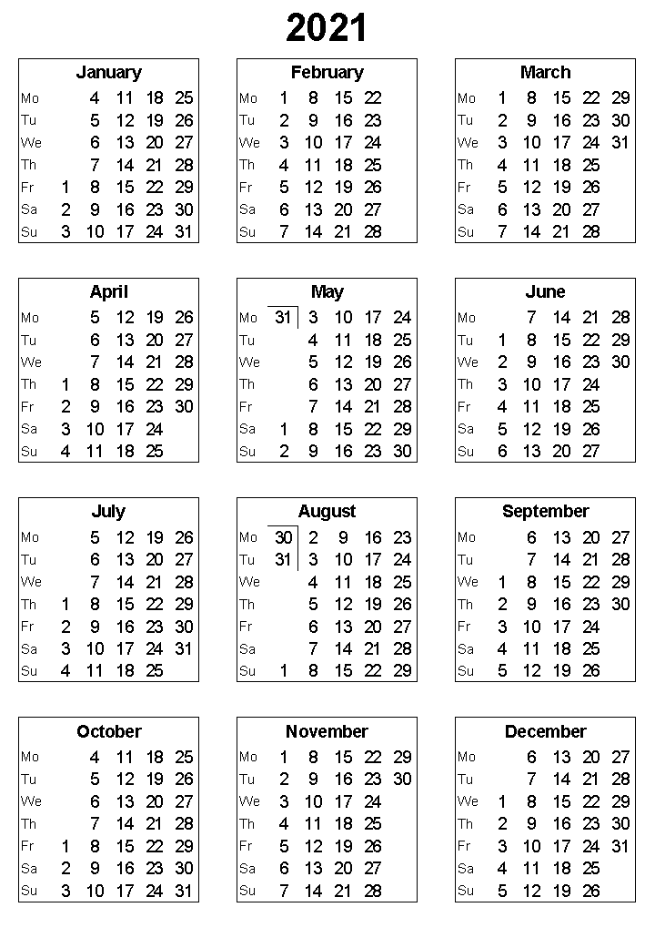 2021 Yearly Portrait Calendar Printable