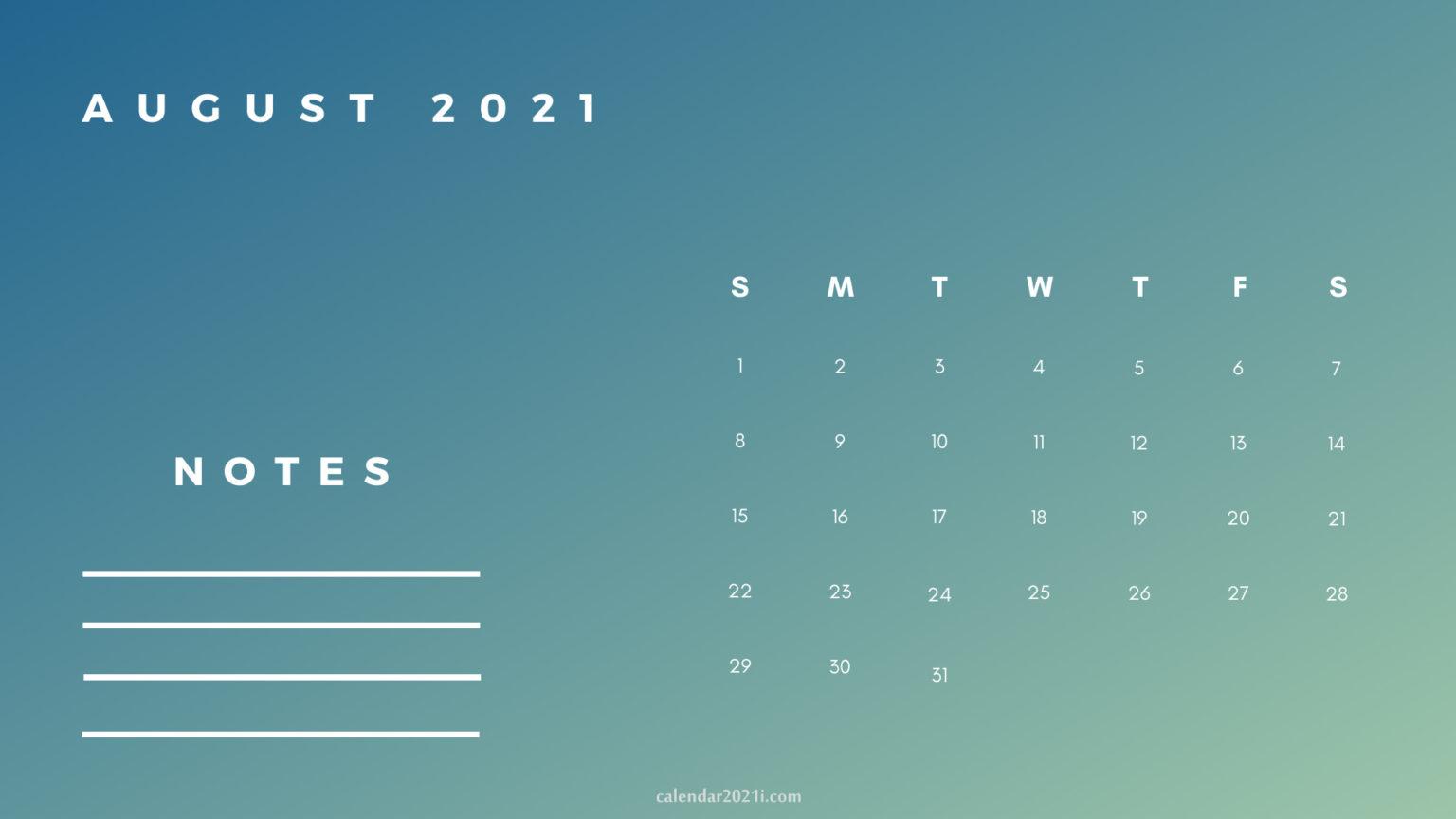 August Printable 2021 Planner Calendar