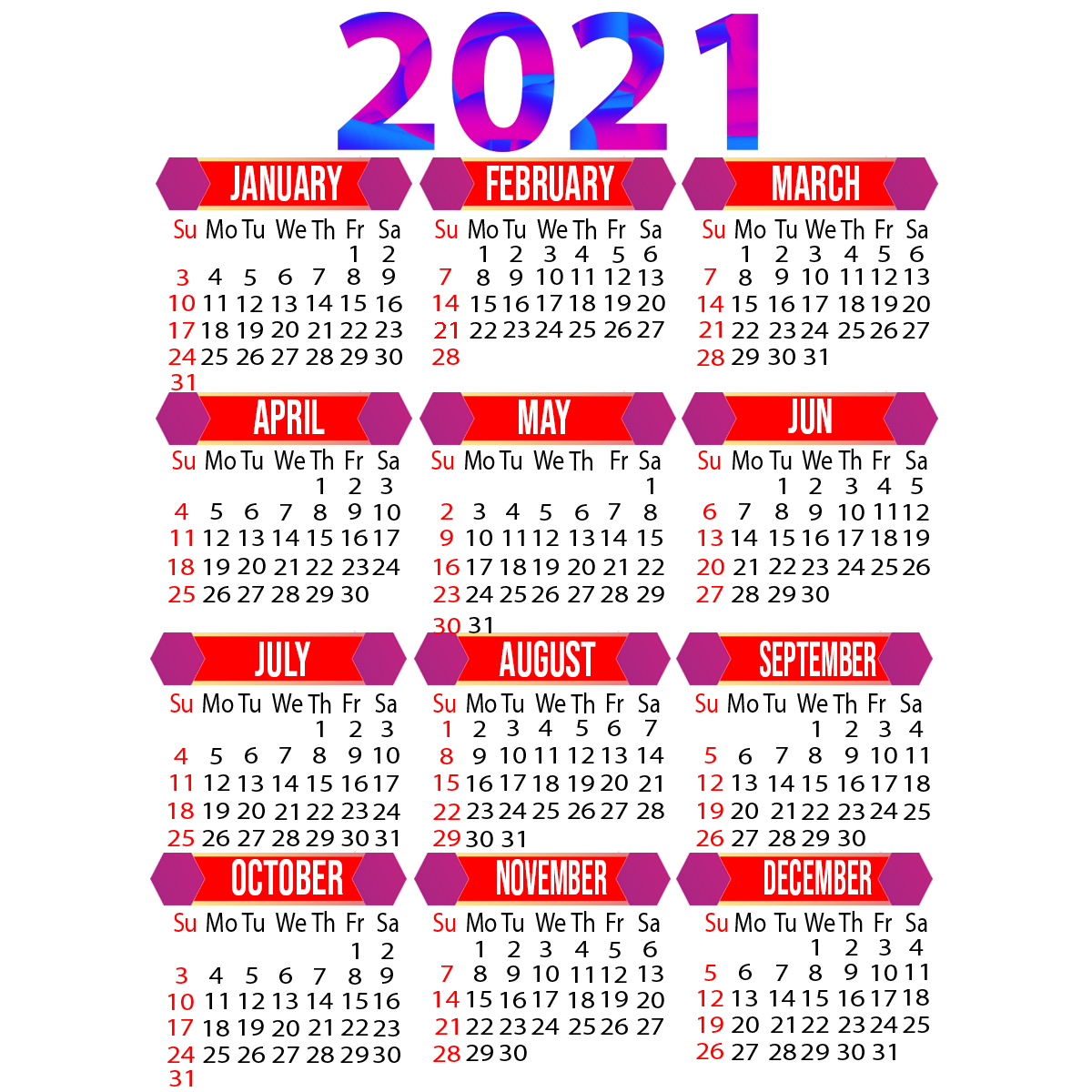Best 2021 Yearly Calendar