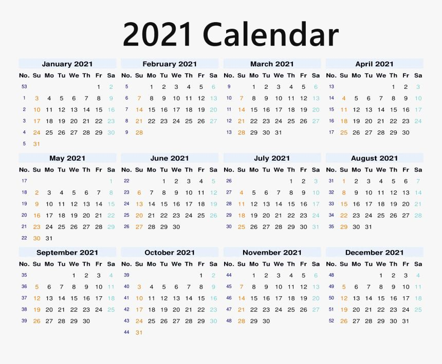 Blank 2021 Calendar Printable