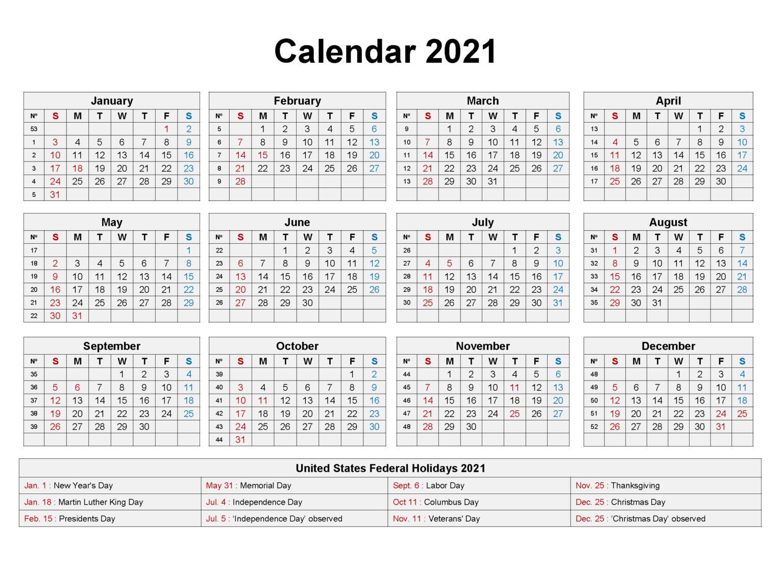 Blank 2021 Holidays Calendar