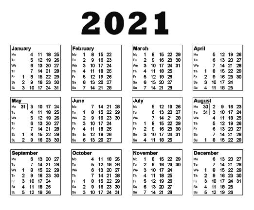 Blank 2021 PNG Calendar