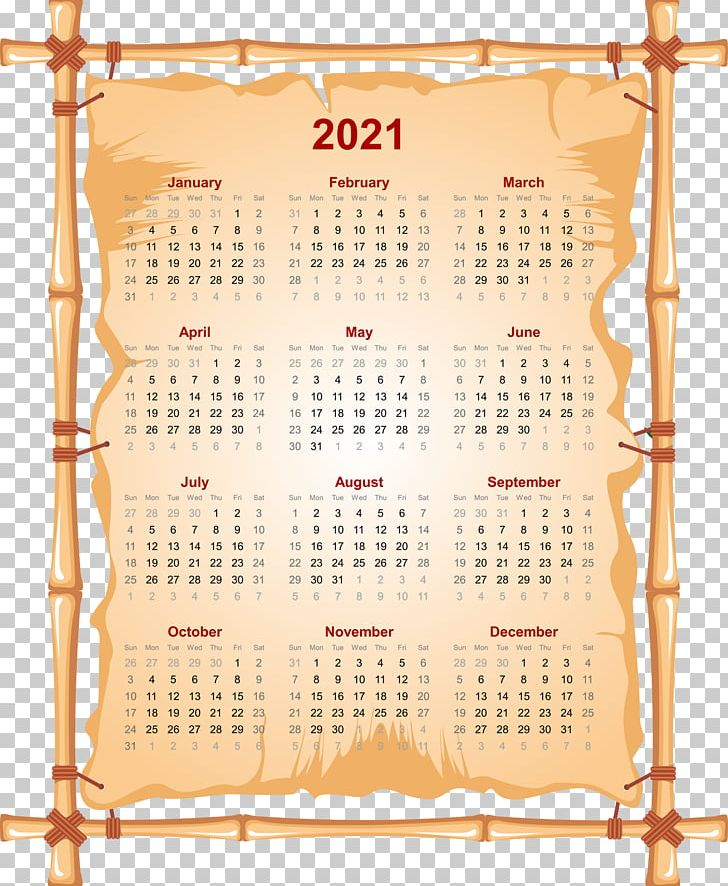 Cute 2021 Yearly Calendar Printable