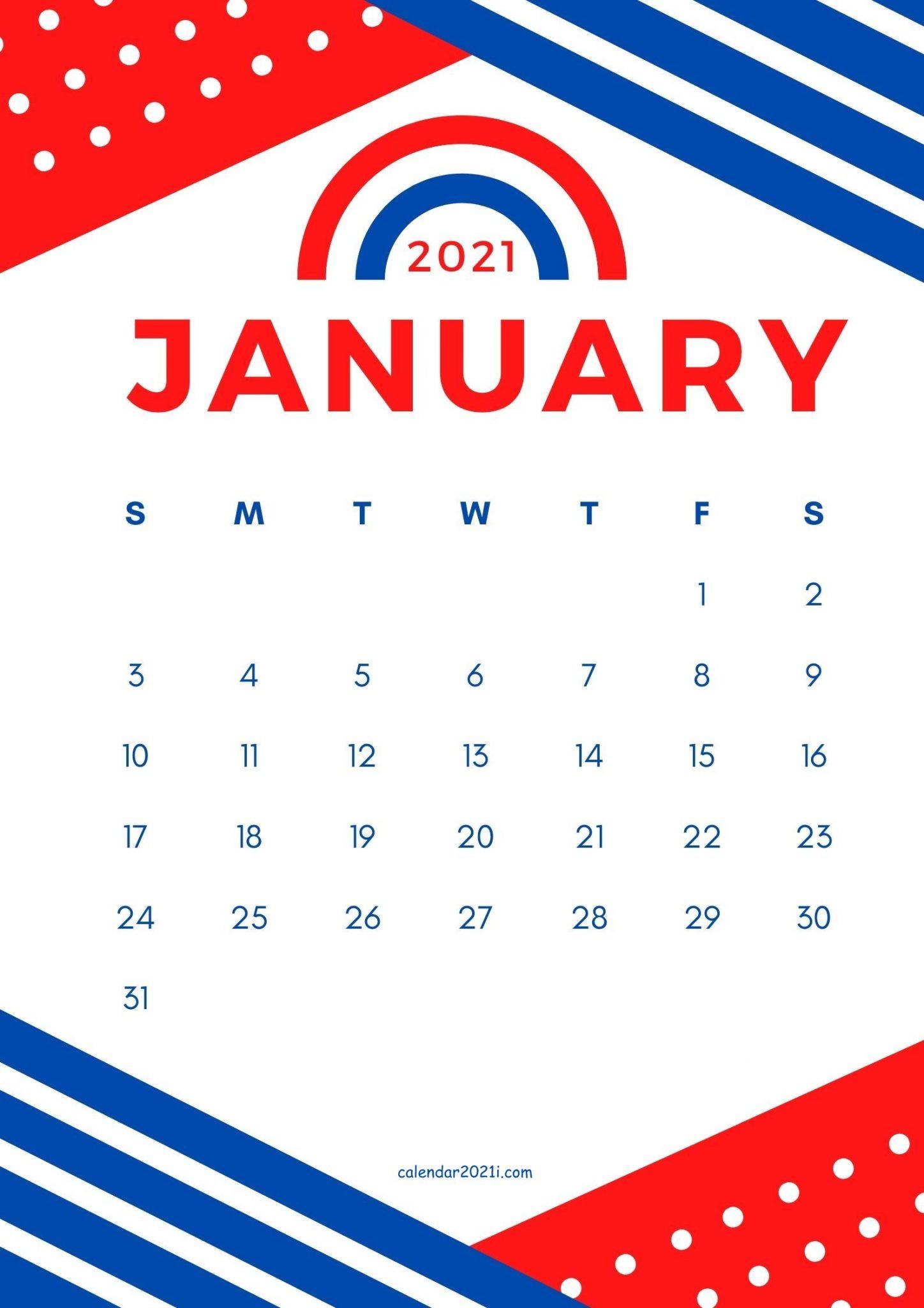 Cute January 2021 Calendar Design