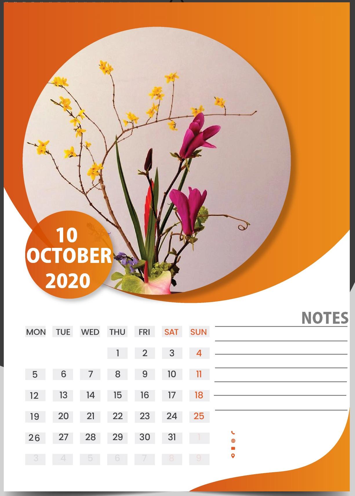 Cute October 2020 Wall Calendar