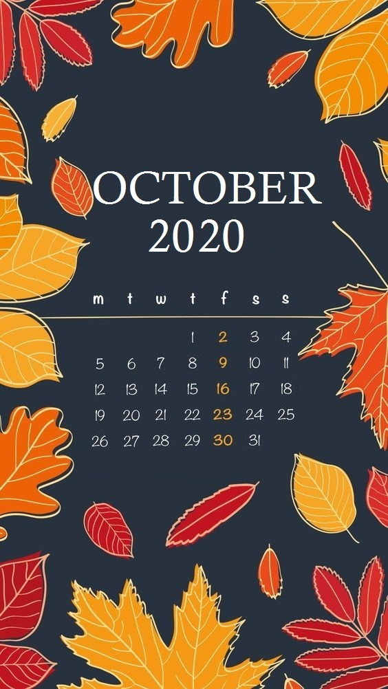 Cute October 2020 iPhone Calendar