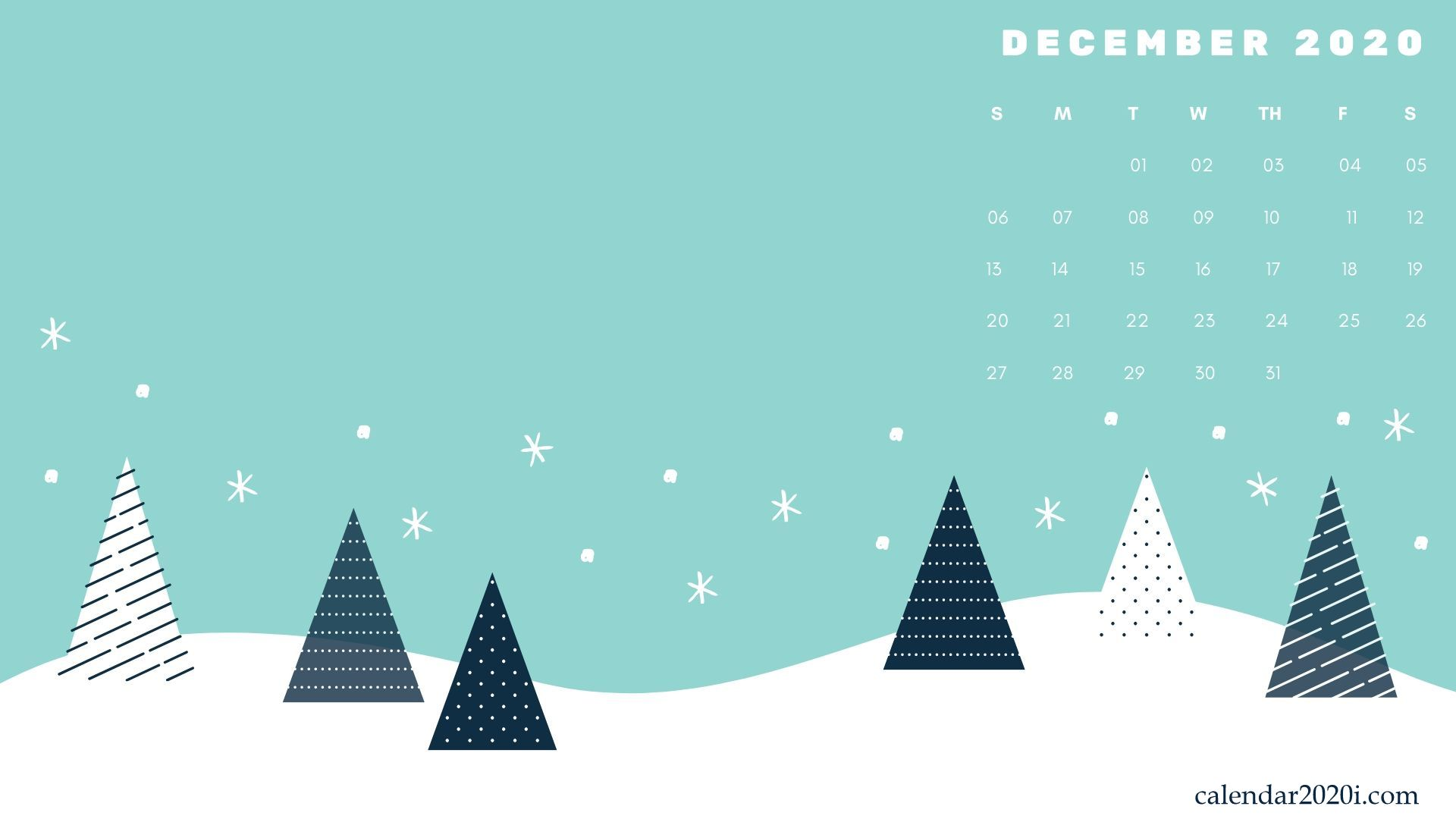 December 2020 Desktop Calendar