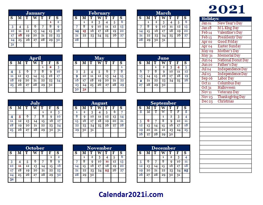 Editable 2021 Yearly Calendar Template
