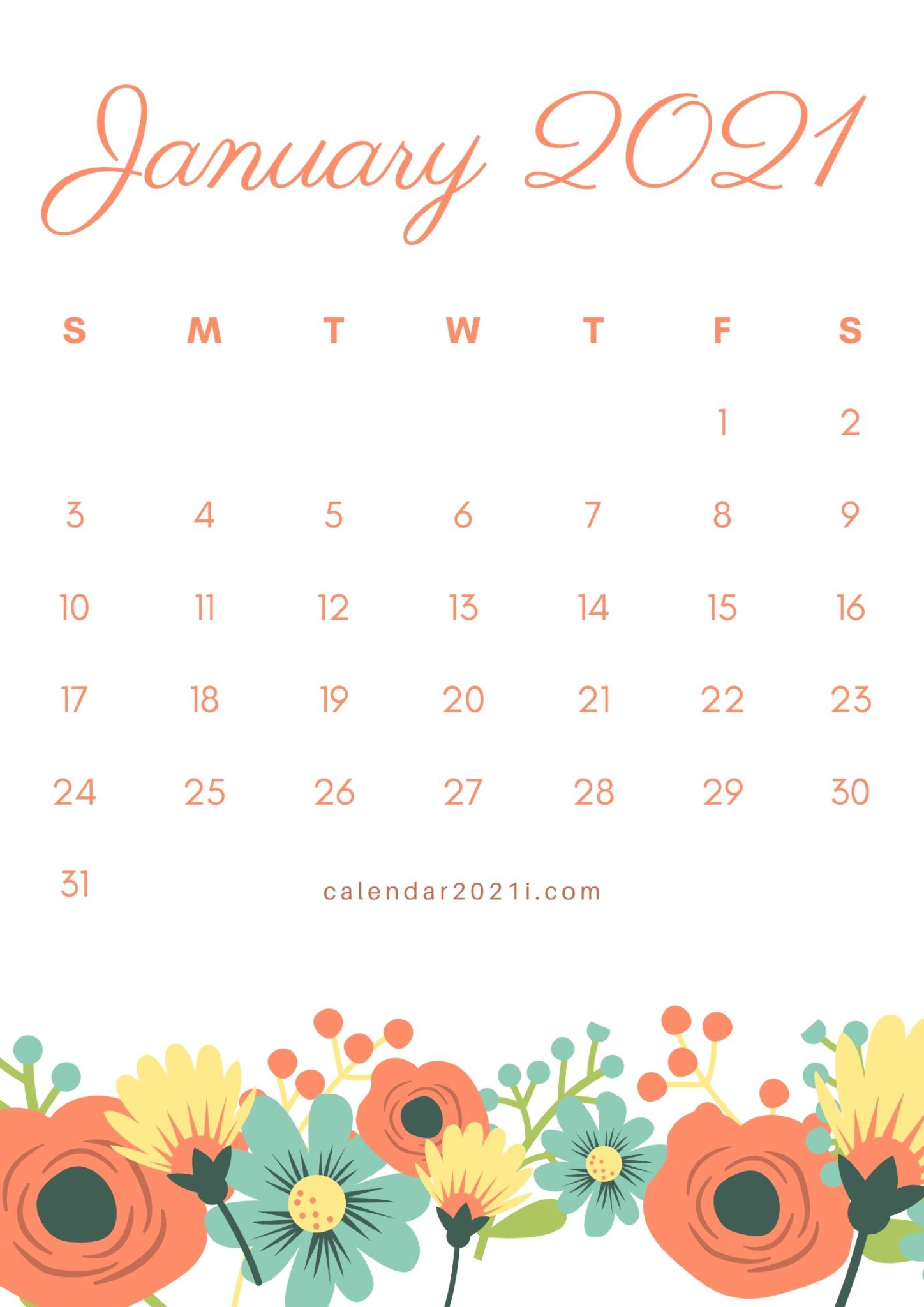 Floral January 2021 Calendar Printable Template