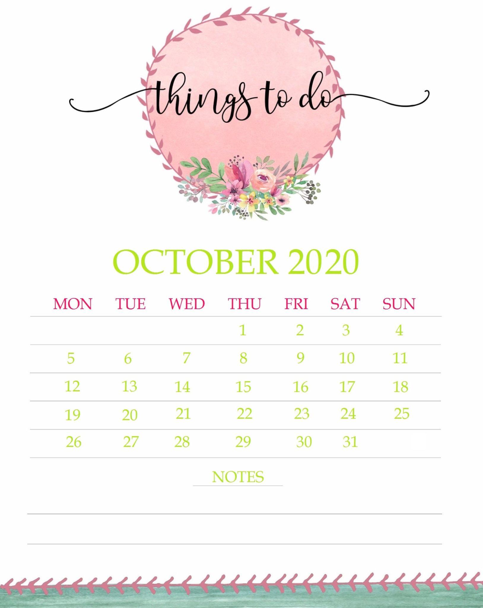 Floral October 2020 Calendar