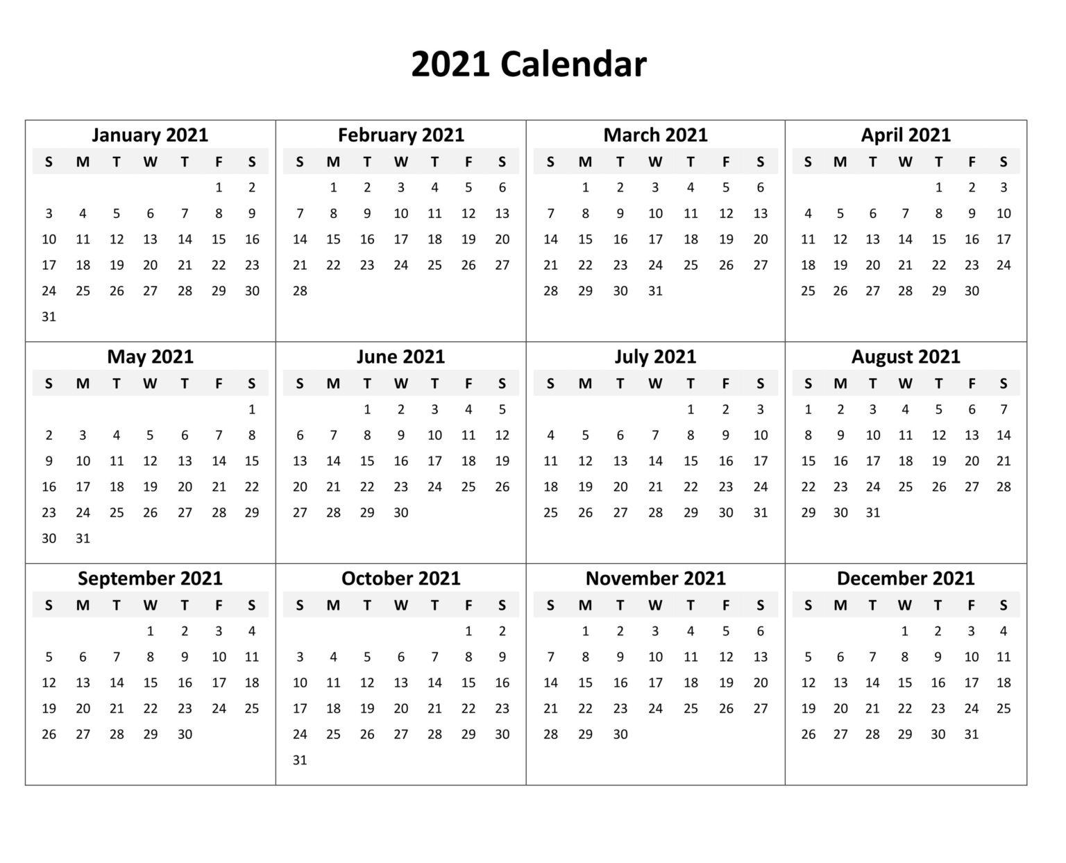 Free Blank 2021 Calendar Printable