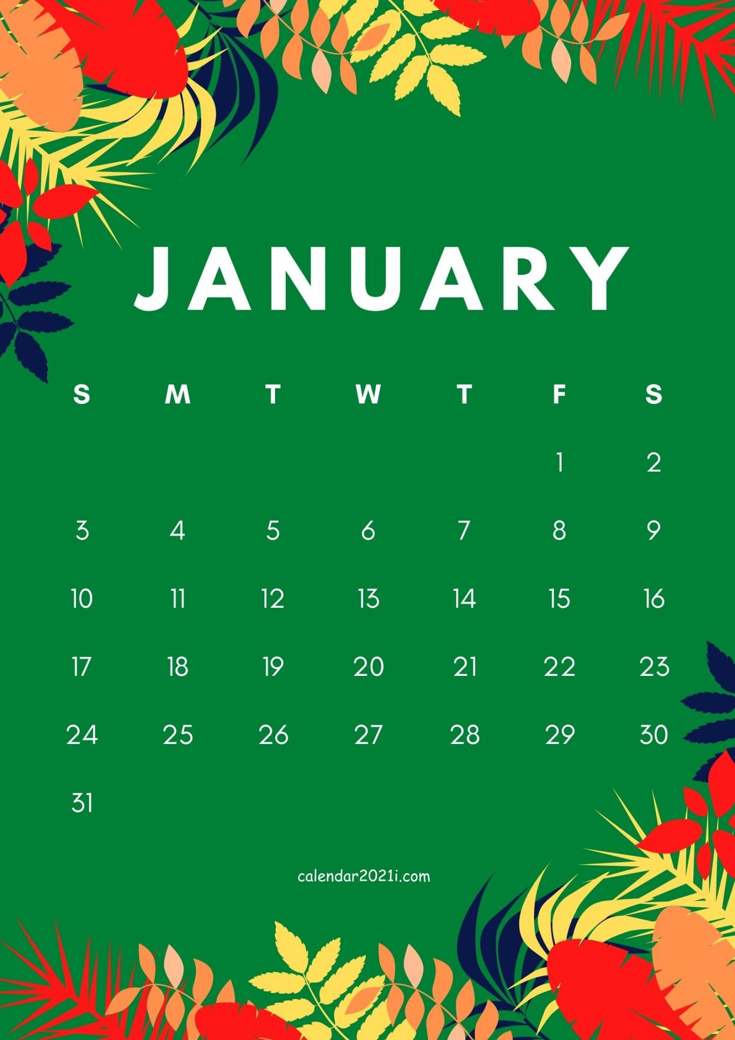 Free January 2021 Floral Calendar