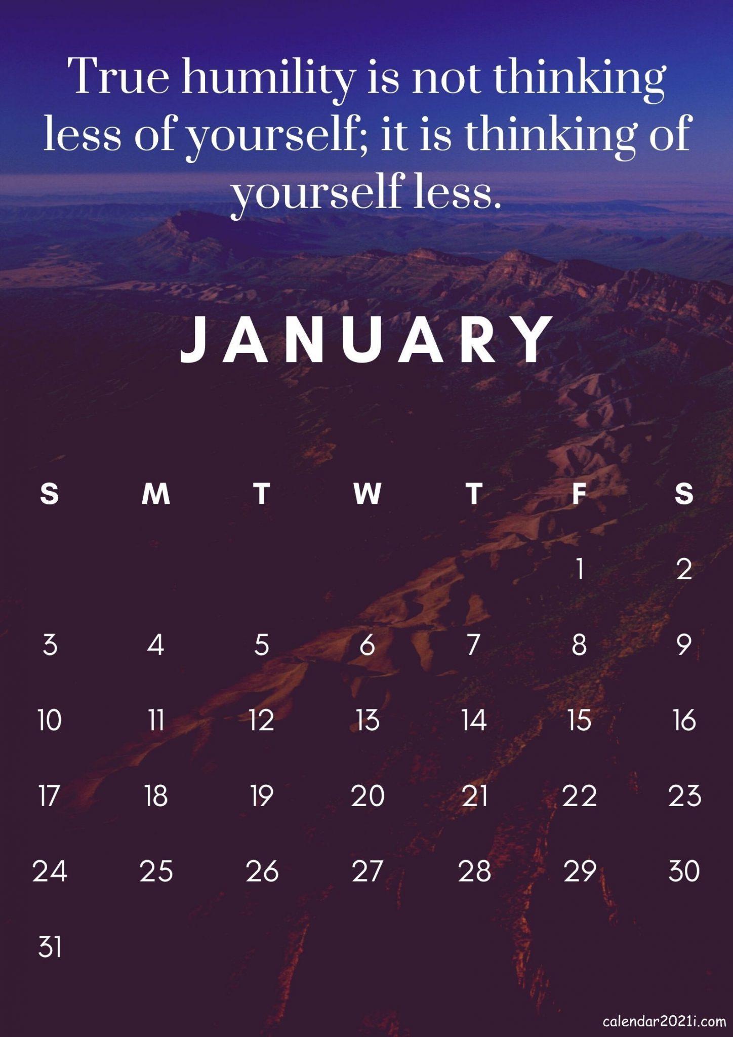 Free January 2021 Inspirational Calendar