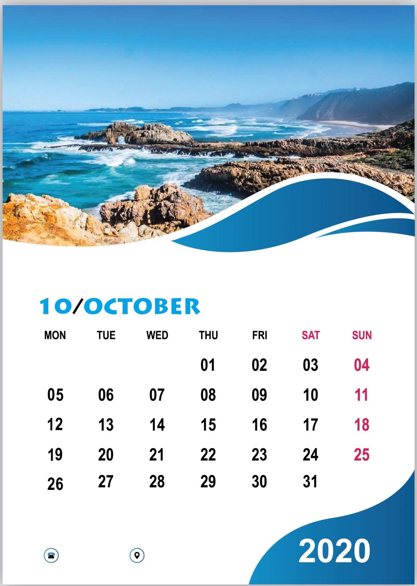 Free October 2020 Wall Calendar