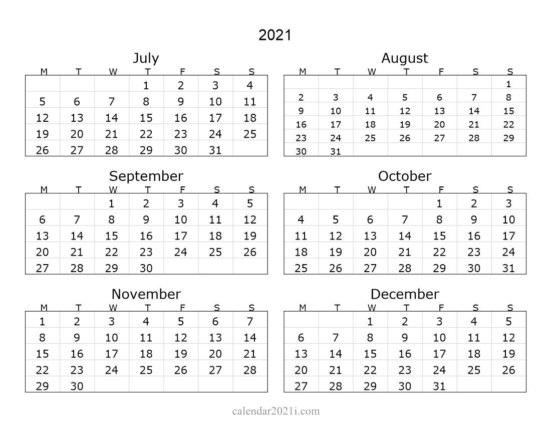 Half Year 2021 Landscape Calendar