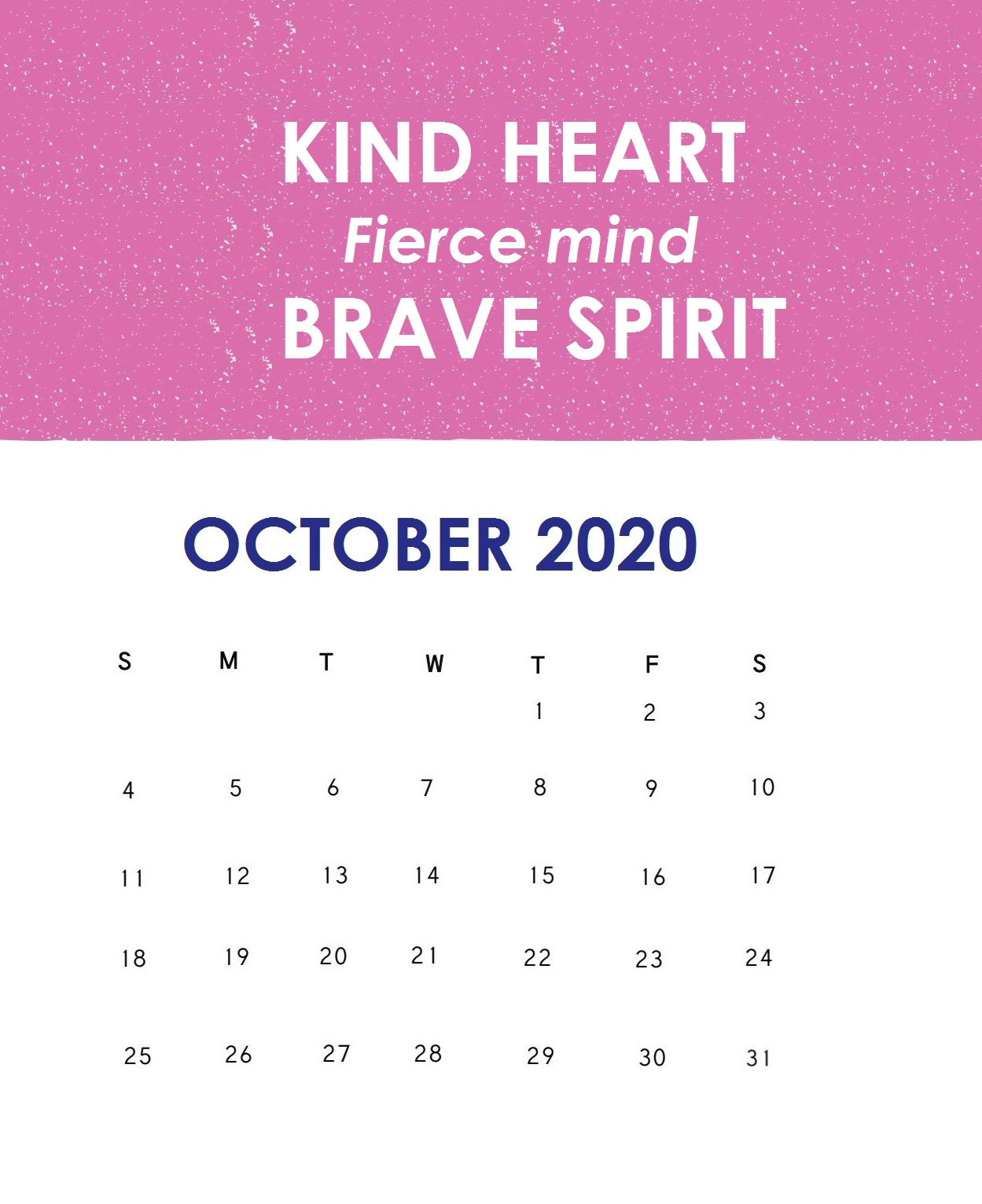 Inspirational October 2020 Calendar