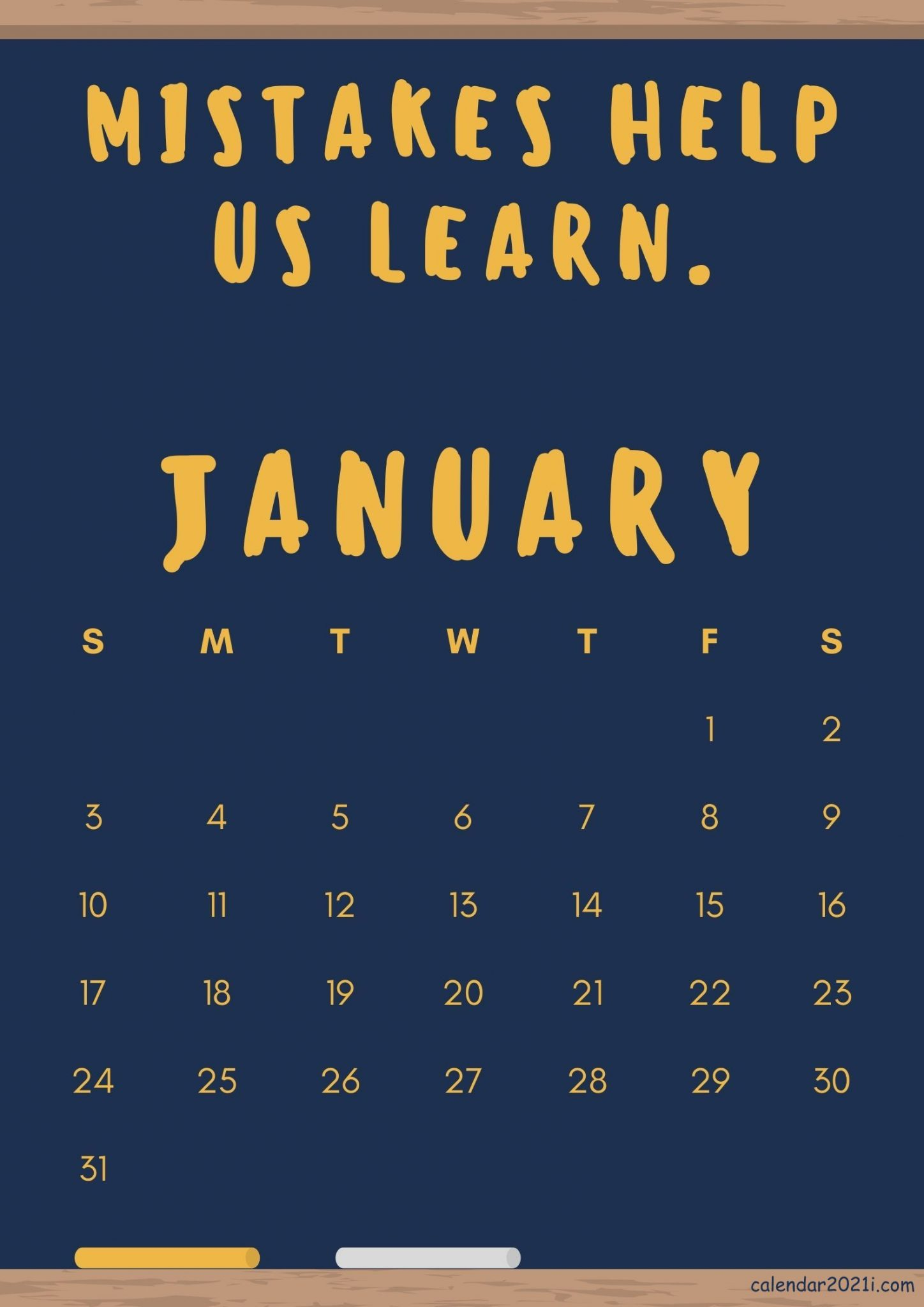 Inspiring January 2021 Calendar with Quotes