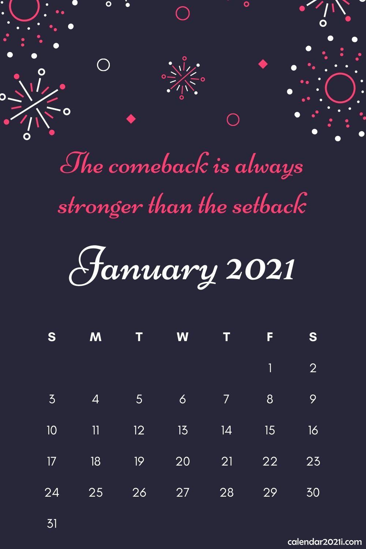 Inspiring January 2021 Calendar