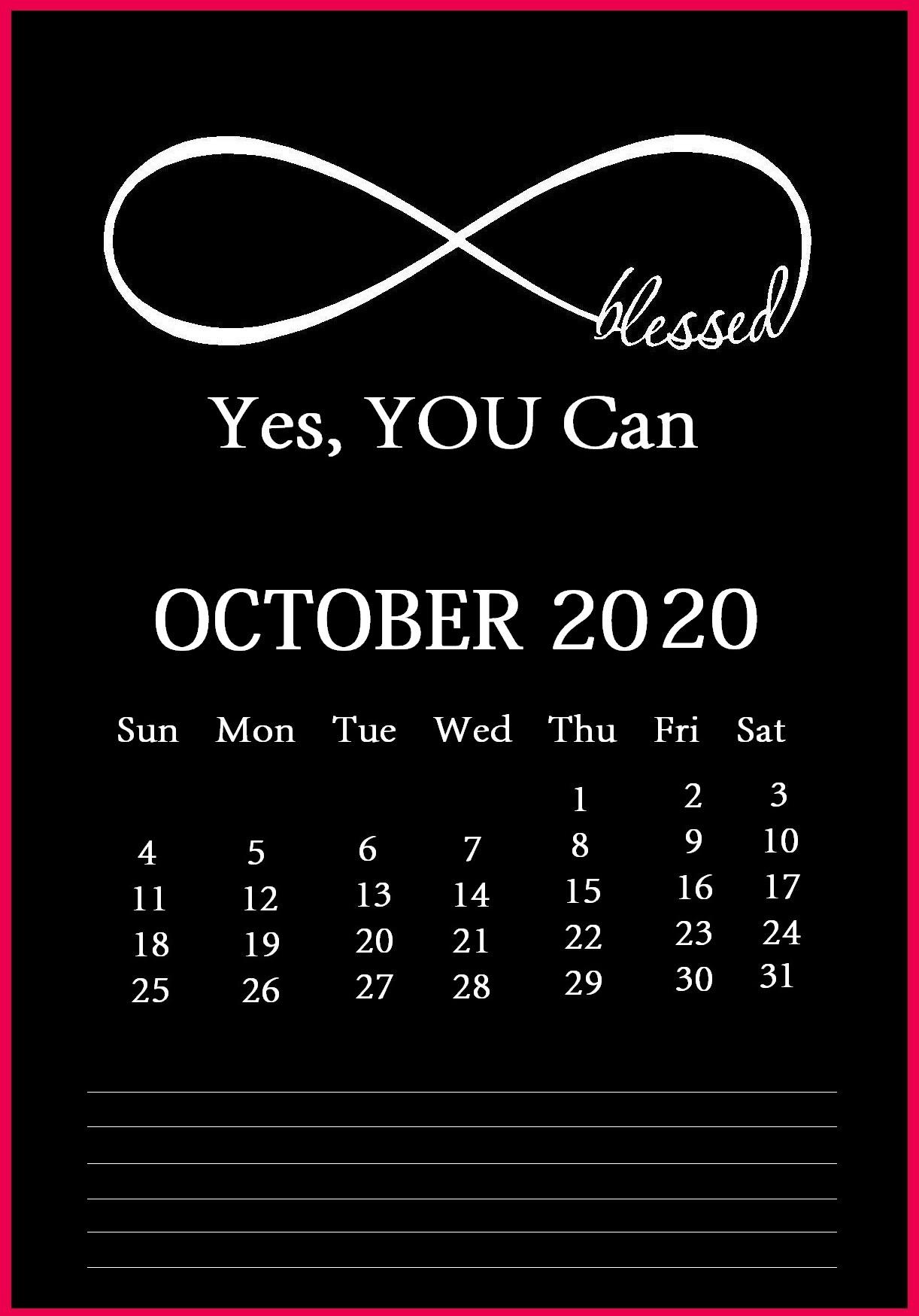 Inspiring October 2020 Desk Calendar