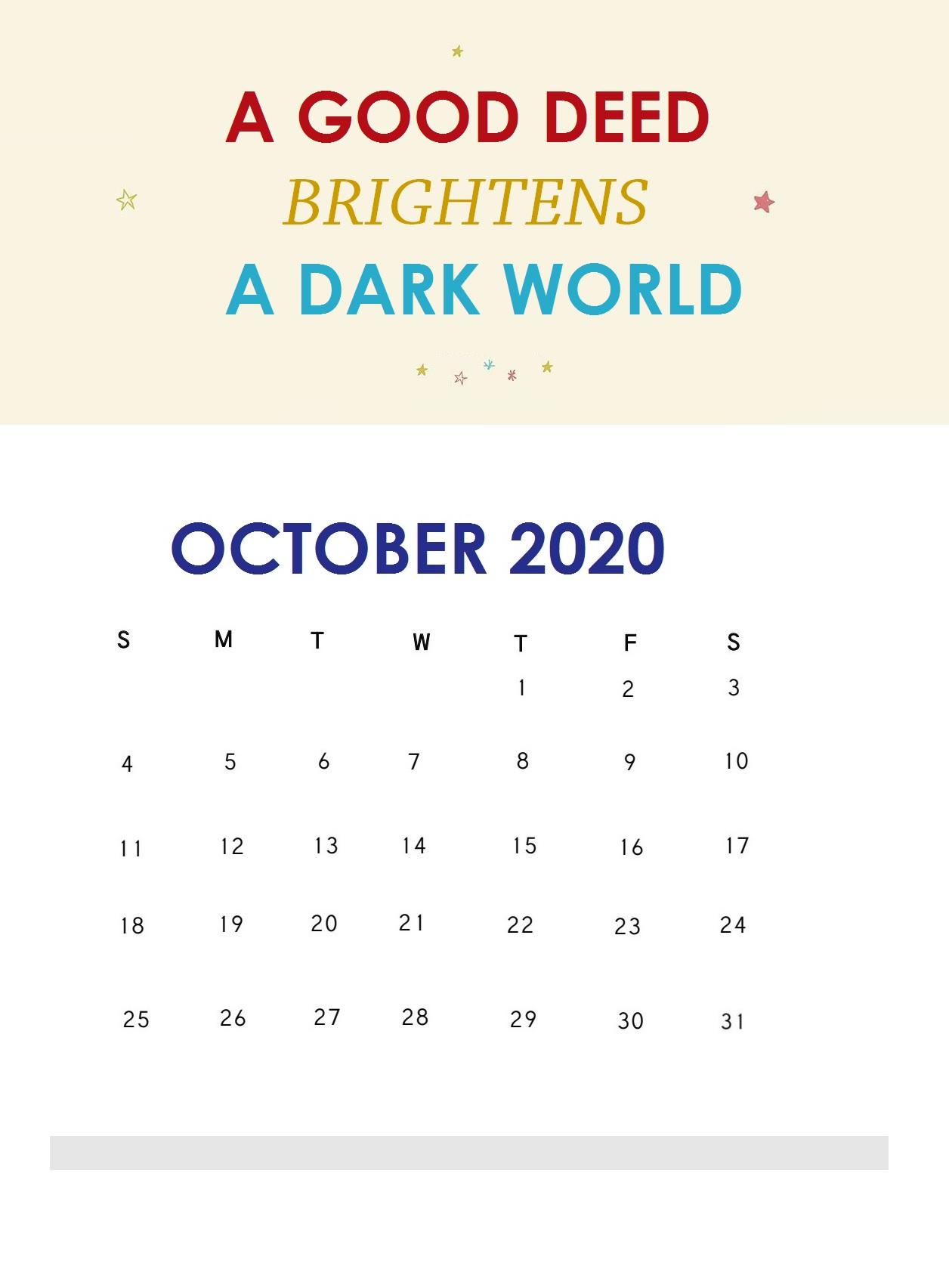 Inspiring October 2020 Quotes Calendar