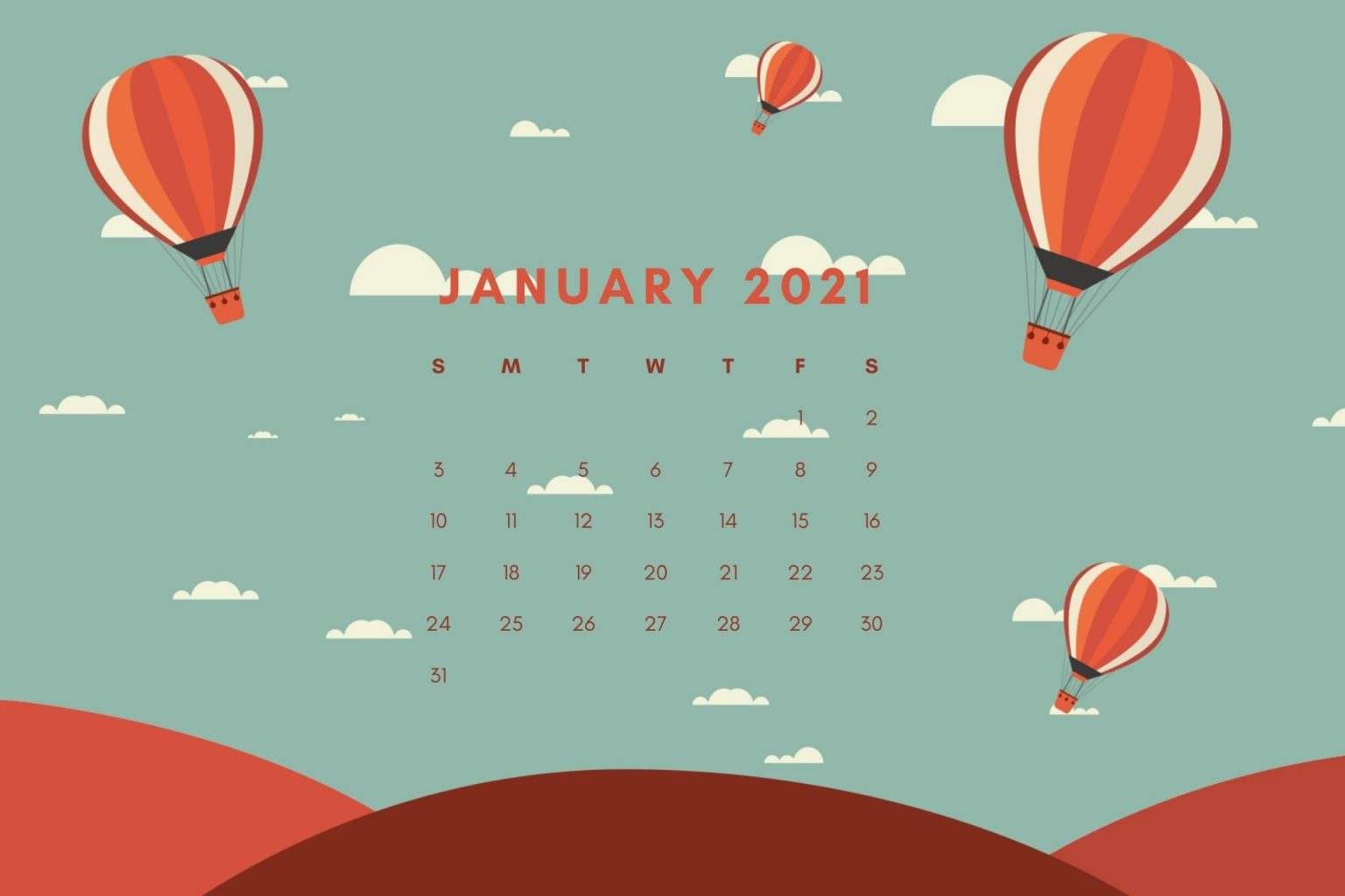 January 2021 Calendar Wallpaper Download
