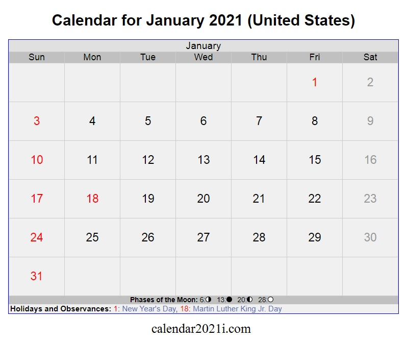 January 2021 Calendar with Holidays