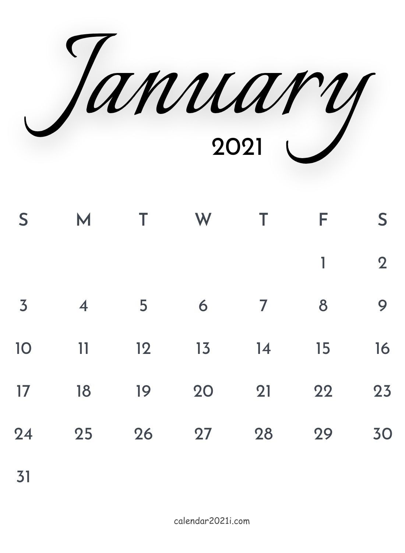 January 2021 Calligraphy Calendar