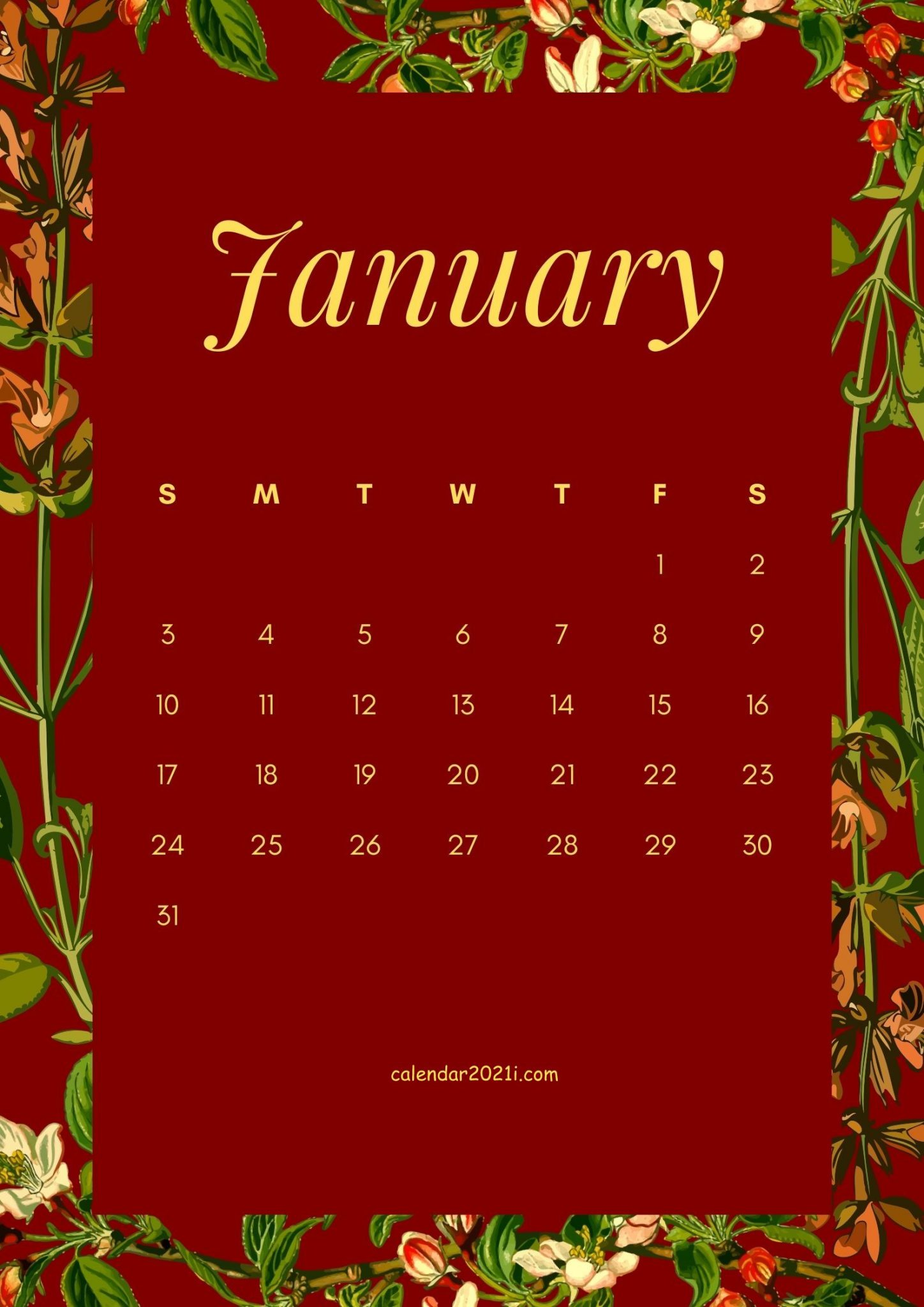January 2021 Floral Calendar Download