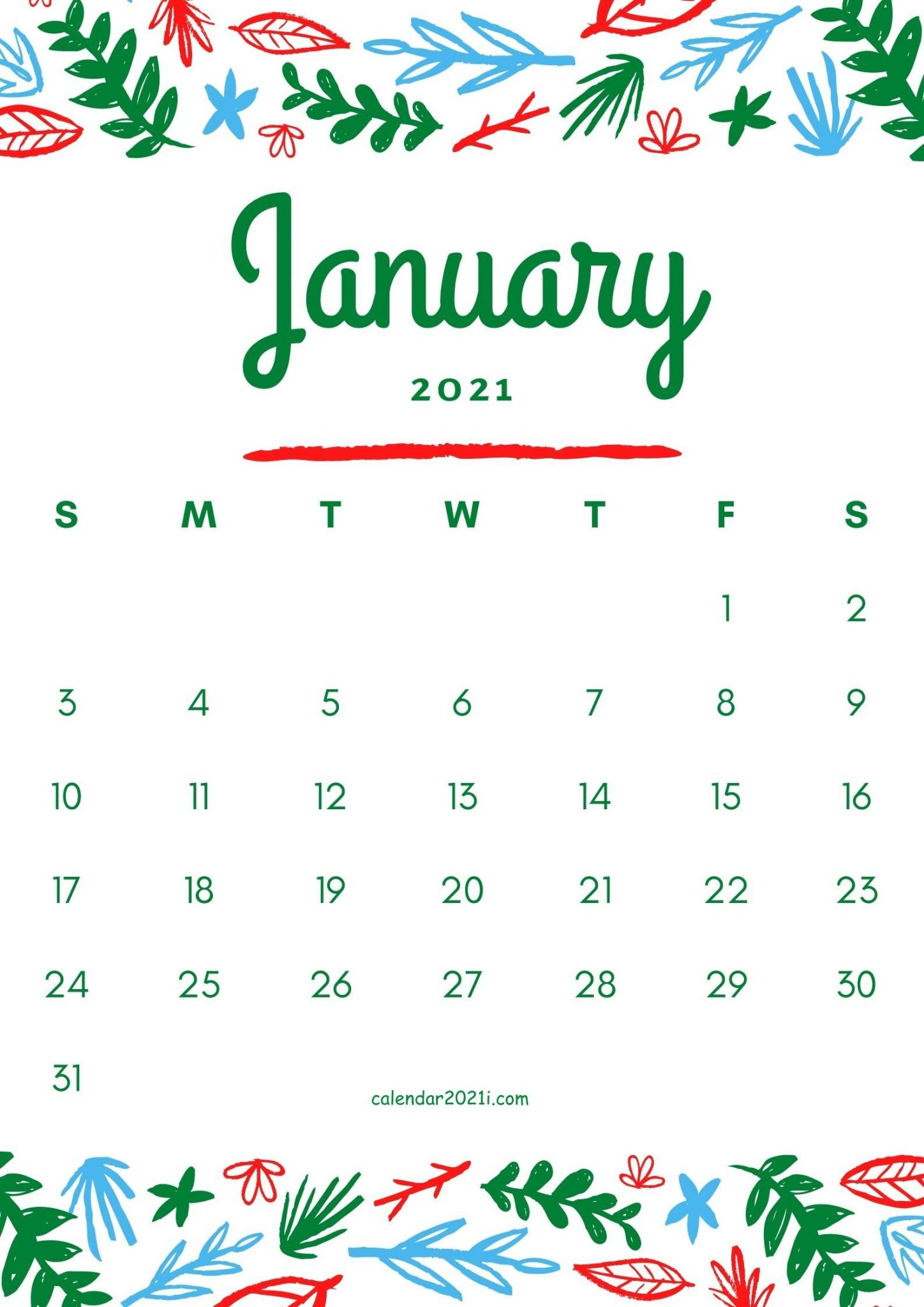 January 2021 Flower Calendar