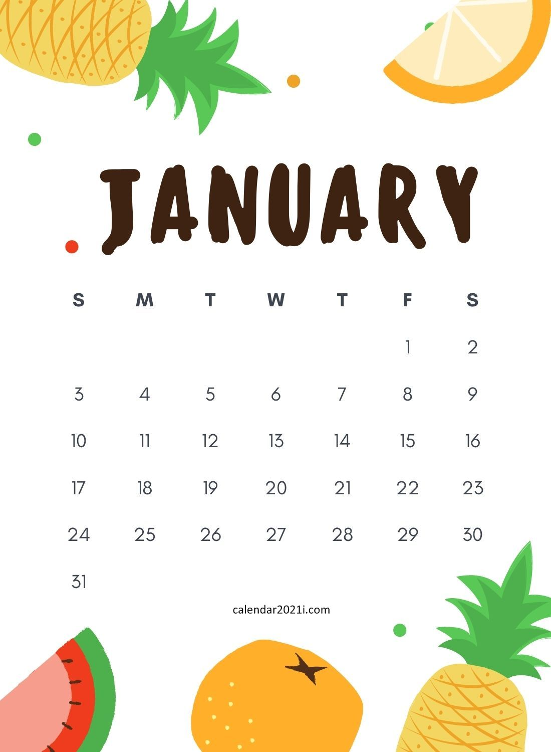 January 2021 Wall Calendar Printable