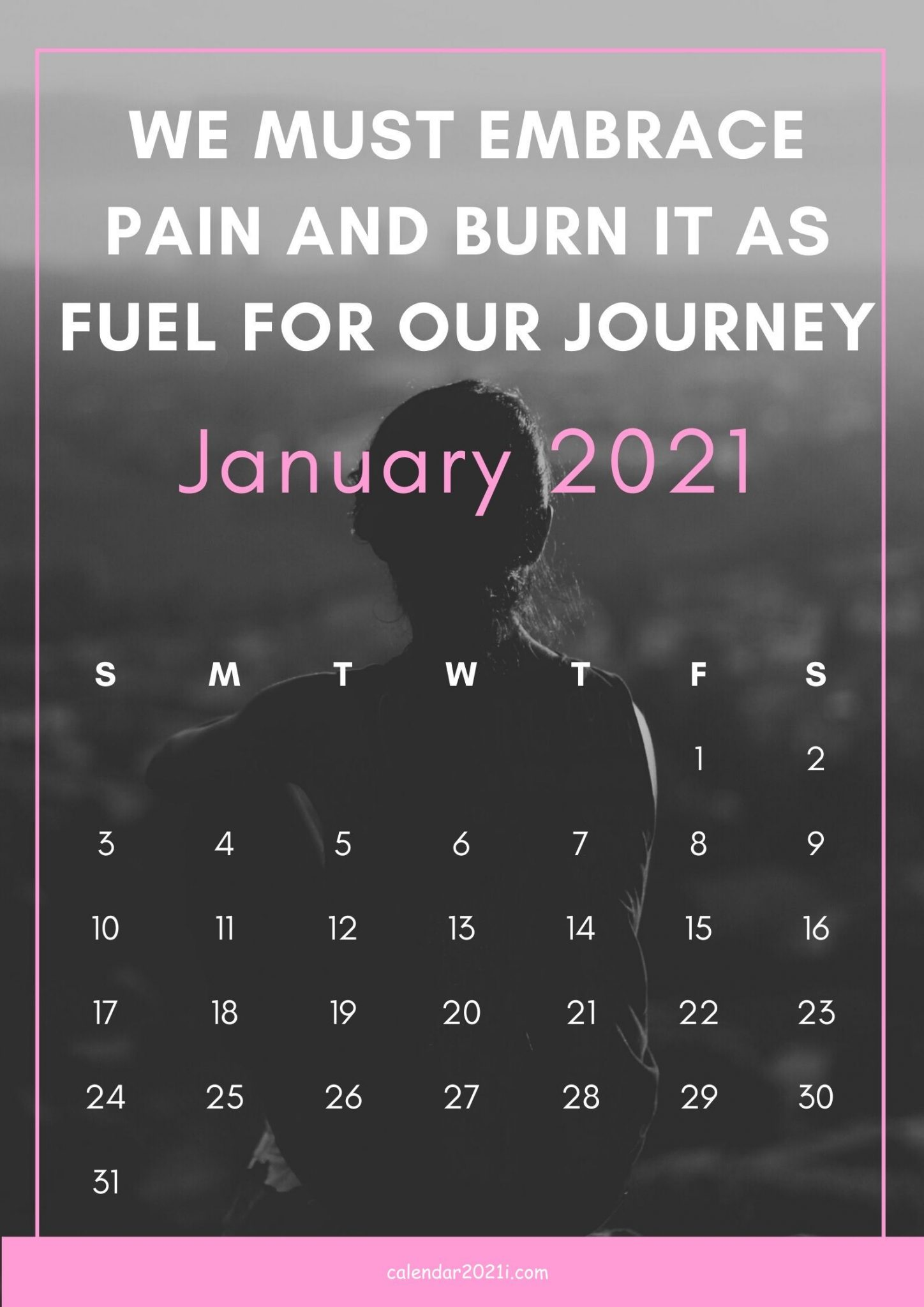 January 2021 Motivational Calendar