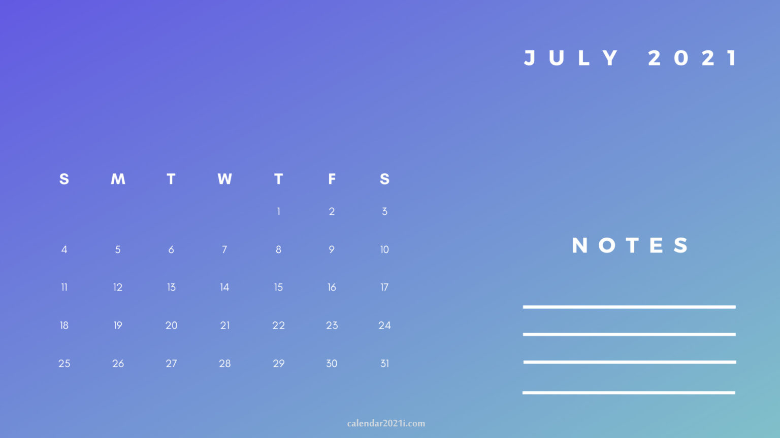 July Printable 2021 Planner Calendar