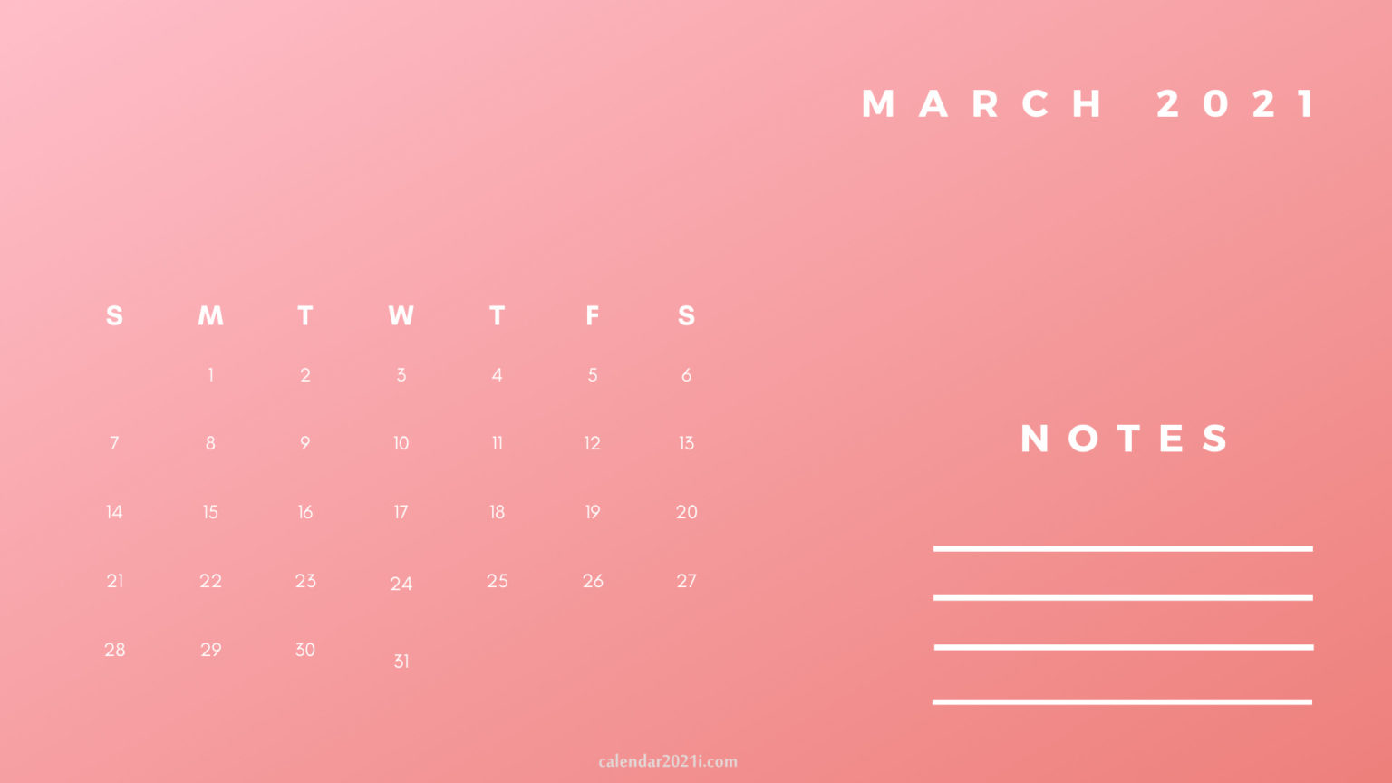 March Printable 2021 Planner Calendar