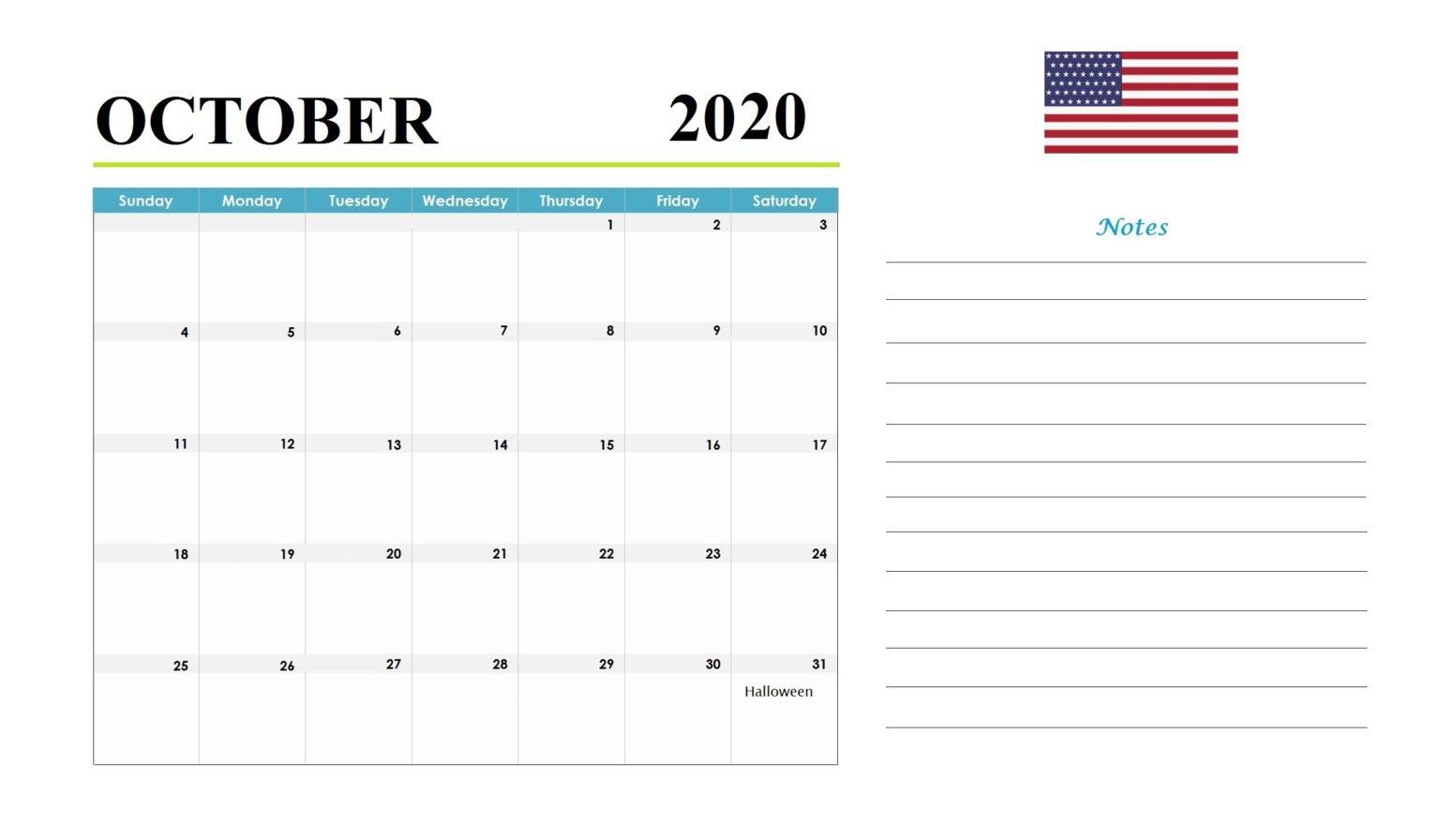 October 2020 Holidays Calendar